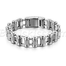 Men's Biker Stainless Steel Bike Motorcycle Bracelet Link Chain With Skull Clasp