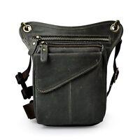 Mens Genuine Leather Messenger Waist Hip Bum Pack Climbing Drop Leg Thigh Bag