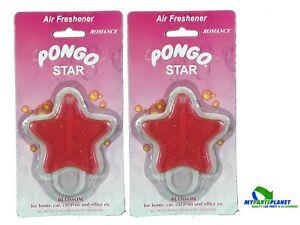2 X Pongo Car Gel Air Freshener Pink Star Blossom Romance Scent