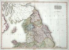 Norte de Inglaterra Pinkerton Mano Antiguo Mapa De Color 1811