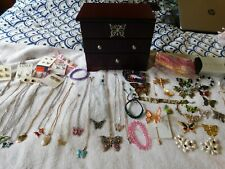 Butterfly Jewelry Lot, Wood Jewelry Box, 55 Pieces of Necklaces, Pins, Earrings