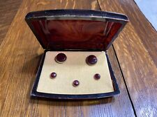 Tone W Red Stones Original Box Vintage Hickok Cufflinks Button Set - Gold