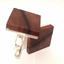 Designer Retro-Style Art Deco Square Silver and Walnut Wood Cufflinks.