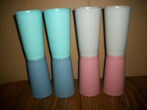 "8 Vintage Tupperware 873 Pastel 5 1/4"" Tumblers Glasses"
