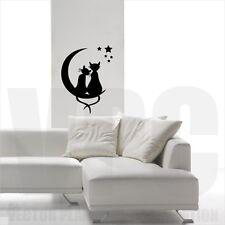 wallstickers gatti adesivo cats parete gatto amore luna e stelle decoro casa