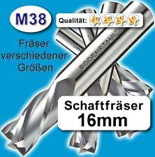 16mm Fräser L=92mm Z=2 Schneiden M38 Schaftfräser für Metall Kunststoff Holz etc
