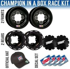 "DWT Black Champion in a Box 10"" Front 8"" Rear Rims Beadlock Rings TRX 250R/450R"