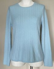 Prive 100% Cashmere Cable Knit Long Sleeve Pullover Sweater Robins Egg Blue Sz M