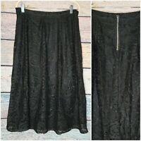 EUC WOMENS CLOTHING SIZE LARGE L 12 SKIRT LACE LAYERED BLACK ALINE MOSSIMO MIDI
