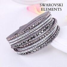 Bracelet  multirangées cuir souple  Swarovski® Elements  ajustable GRIS ARGENT