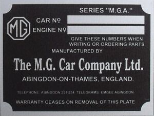 Replacement Vin Plate Identification Plate for MGA YOUR OWN TEXT OTHERS IN STOCK