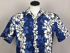 Royal Creations XL Blue Hawaiian Aloha Shirt Geometric Hibiscus Flowers