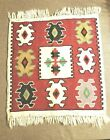 """VINTAGE AUTHENTIC HAND WOVEN MULTI COLOR TAPESTRY HANGING WALL RUG 18"""" X 19"""""""