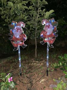 30 LED 2PCS 80cm Cool White Santa Merry Christmas Solar Sign Garden Lights