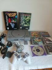 Sony PlayStation PS1 Gray Game Console Bundle w/ 8 Games & AV Cable SCPH-1001