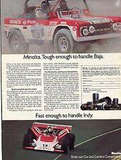 1972 Minolta Car & Camera Competition Baja & Parnelli Jones at Indy Print Ad