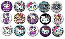 """HELLO KITTY DAY OF THE DEAD  Lot of 15 Pin Back 1"""" Buttons Badges One Inch - Set"""