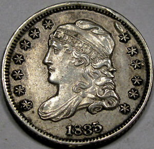 1835 Capped Bust Half Dime Nice Unc. BU MS+... 100% Original, Antique Grey Tone!