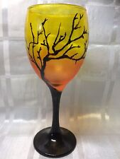Hand Painted Black Silhouetted Gothic Tree Orange Yellow Large Wine Glass