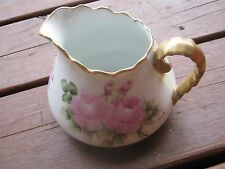 Vintage Hand Painted Pitcher Rose Graphics Signed Vilma Distler