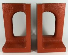 Mid Century Modern Bookends Orange Cast Iron Design Line Book Lovers Gift