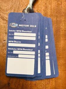 10x MPM Ölwechselanhänger, Ölwechselzettel, Inspektionszettel Ölzettel Ölservice
