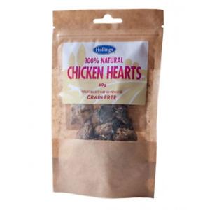 Hollings 100% Natural Chicken Hearts Dog Treats 60g