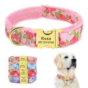 Custom Personalized Dog Collar Engraved ID Buckle Adjustable Fleece Padded S/M/L
