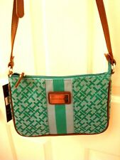 Tommy Hilfiger Green Teal Cross Body Logo Tote Purse Bag Small MSRP $59 NEW