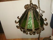 SPANISH REVIVAL  HEAVY IRON-GREEN GLASS HANGING LIGHT- CHANDELEIR 15X20