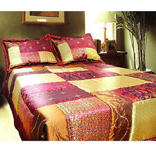 3 Pce Oriental NANJING Queen Patchwork Coverlet / Bedspread + 2 Std Pillowcases