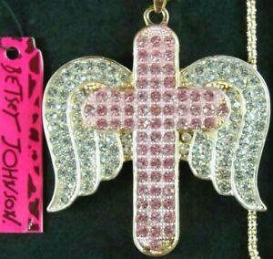 "NWT BETSEY JOHNSON 2.5"" PINK RHINESTONE CHRISTIAN CROSS w/ ANGEL WINGS NECKLACE"