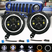 "7"" Round LED Halo Ring Headlight + Mounting Bracket for Jeep Wrangler JL 2018-19"