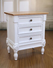 2 x Bedside Chests French Provincial Solid Hardwood Bedside Table 3 Drawer White