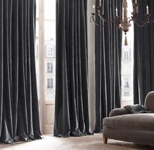 Restoration Hardware Vintage Velvet Drapery Twilight Grey Curtain Panel 96 X 50
