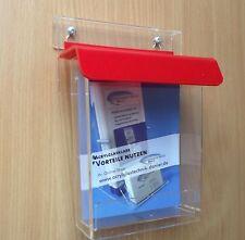 DIN A6 Flyerbox mit rotem Deckel wetterfest , Prospektbox,Prospekthalter