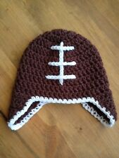 Handmade Crochet VINTAGE STYLE FOOTBALL beanie hat photo prop baby toddler child