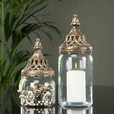NOSTALGISCHE Laterne WINDLICHT Gold Metall Shabby Schale Romantik Vintage Antik