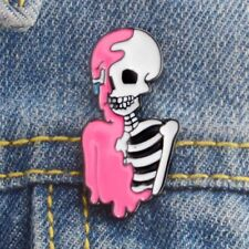 Special Half Pink Skeleton Enamel Pin Punk Cool Skull Lapel Brooch Showy kkf14