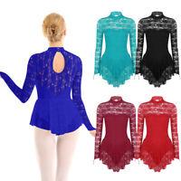 Women Adult Ballet Dance Leotard Dress Long Sleeve Lace Gymnastics Skirt Costume