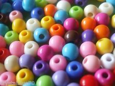 200 X 6 mm ronda granos Acrílico sólido Colores Mezclados artesanía resultados-abrsm6mm