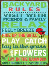 Backyard Rules Metal Sign, Outdoor Living, Porch, Patio, Summer, Family