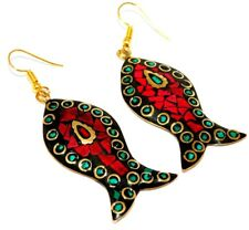 Amazing Tibetan Earrings Coral Stone Bohemian New Fashion Festival Gift E156
