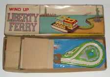 1950'S JAPAN TIN TOY NO.1932 WIND UP LIBERTY FERRY NEW YORK CITY W/ORIGINAL BOX