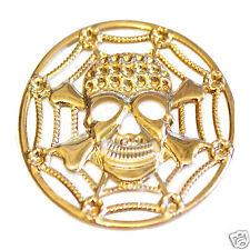 4.2 cm LEGA abbellimento, Teschio e Ossa Incrociate sulla ragnatela, Light Gold Tone