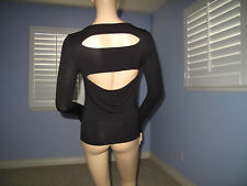 Bebe BLK Sexy Slashed Back Thumbhole Sleeves Rhinestone Logo Top NWT$49~S~Last 1