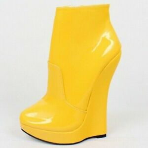 Womens Ankle Boots Wedge High Heels Sexy Zip Platform Nightclub Dance Slim Shoes