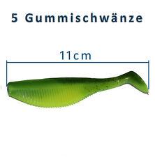 5 Gummifische 11cm Shads Gummischwanz Dorsch Heilbutt Angeln Angelhotspot X1