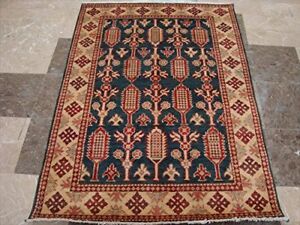 New Kazak Caucasion Afghan Veg Dyed Mahal Rug Hand Knotted Carpet (4.11 x 3.6)'