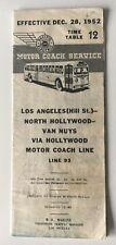 Vintage 1952 00004000  Pacific Electric Motor Coach Timetable 12 Line 93 La-Van Nuys bus